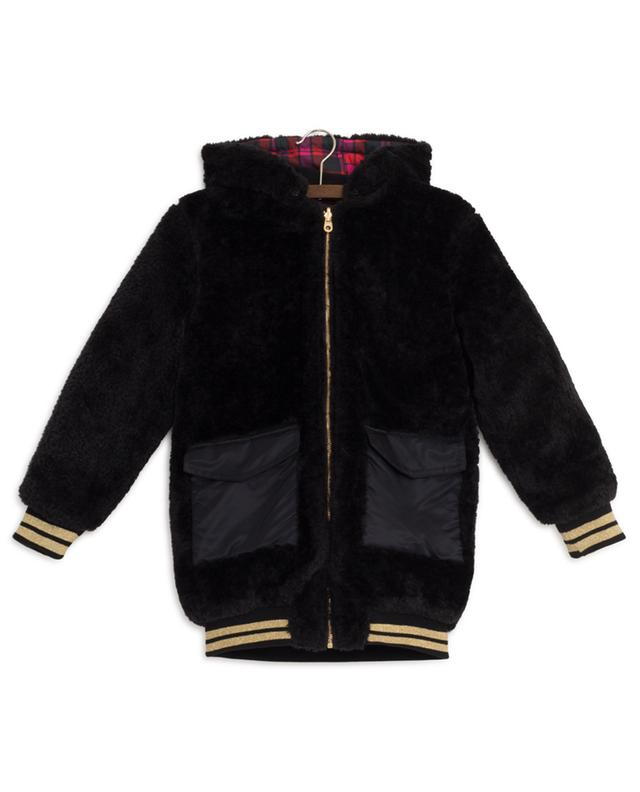 Reversible checked and faux fur bomber jacket LITTLE MARC JACOBS