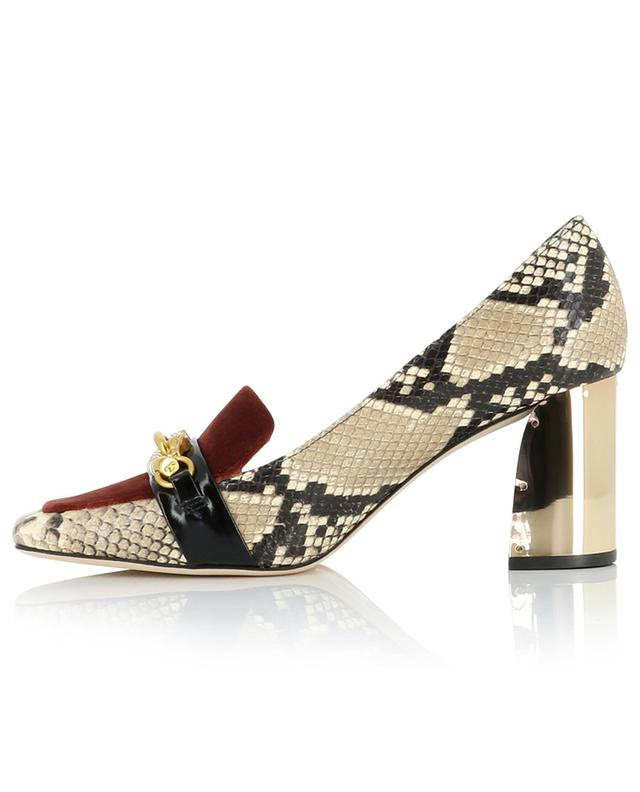 Jessa 75 snakeskin effect and velvet pumps TORY BURCH