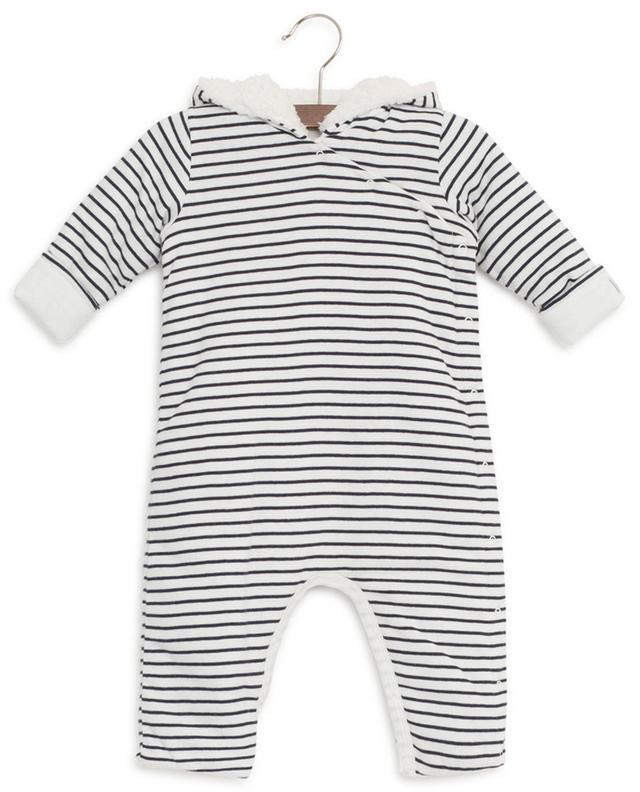 Striped cotton all-in-one with hood PETIT BATEAU