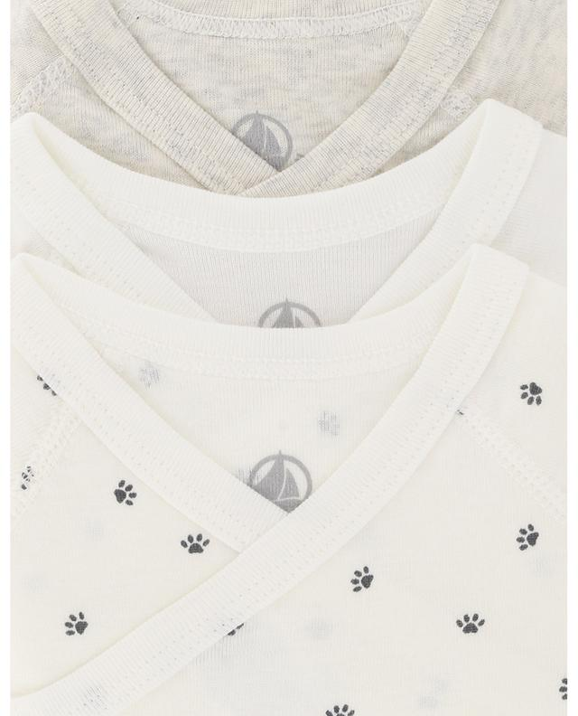 Set of 3 organic cotton bodysuits PETIT BATEAU