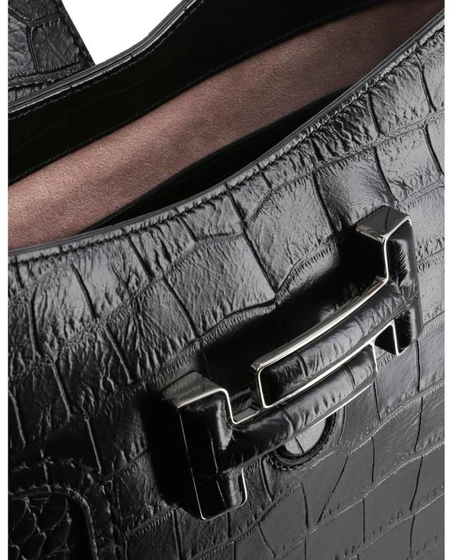 Hobo croc embossed leather shoulder bag TOD'S