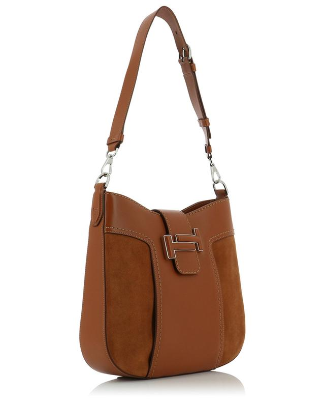 Sac en cuir lisse et daim Hobo Tod's Double T Small TOD'S
