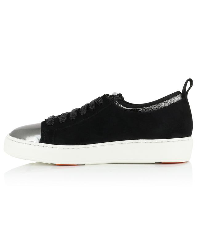 Velvet and leather low-top sneakers SANTONI