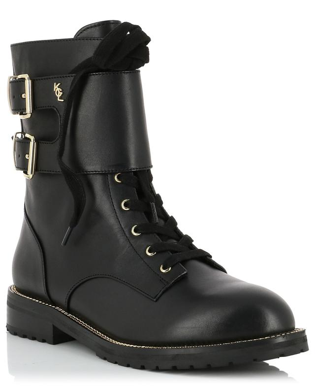 Sutton flat leather booties with chain embellishments KURT GEIGER LONDON