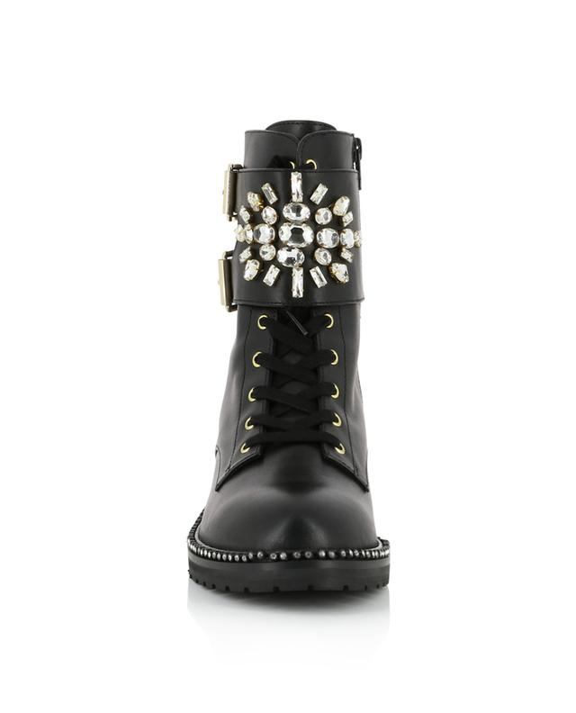 Stoop leather flat ankle boots with crystals KURT GEIGER LONDON