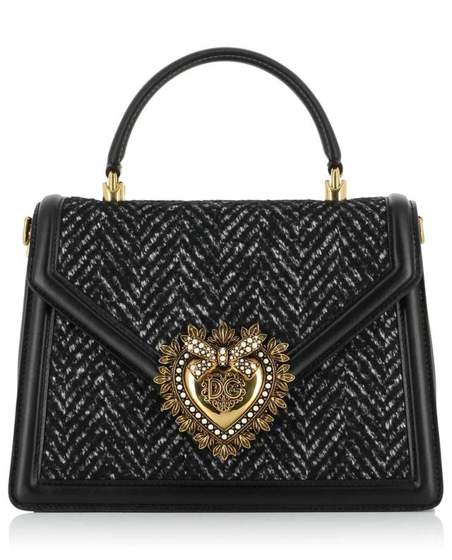 Devotion herringbone tweed and leather handbag DOLCE & GABBANA