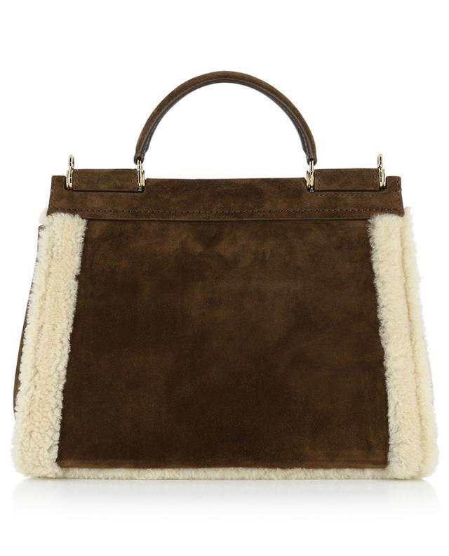 Sicily Soft Medium suede handbag with shearling lining DOLCE & GABBANA