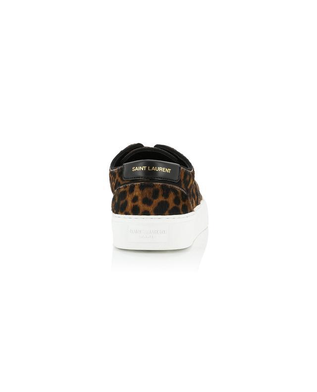 Baskets à lacets en cuir effet poulain imprimé léopard Venice SAINT LAURENT PARIS