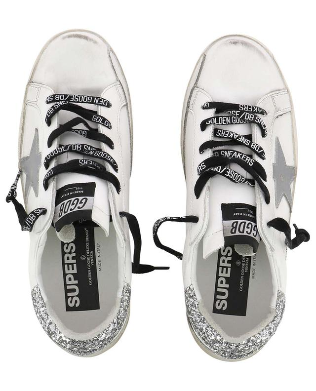 Superstar low-top lace-up leather sneakers with silver glitter GOLDEN GOOSE