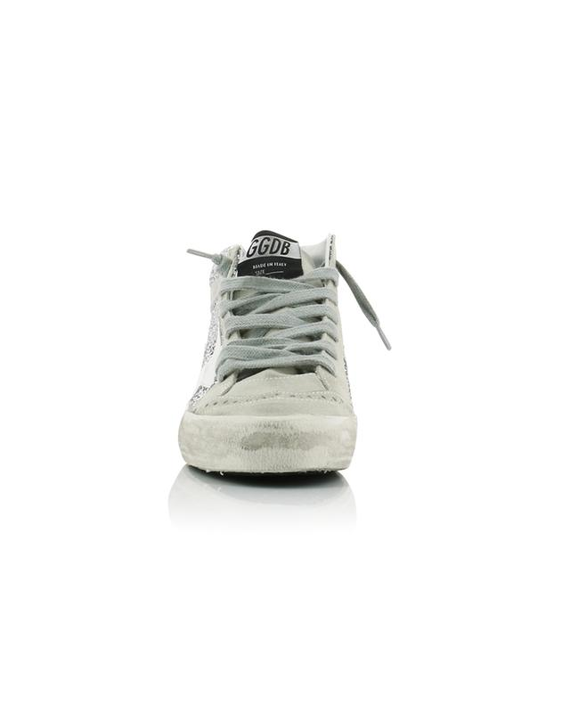 Mid Star silver glitter covered suede high-top sneakers GOLDEN GOOSE