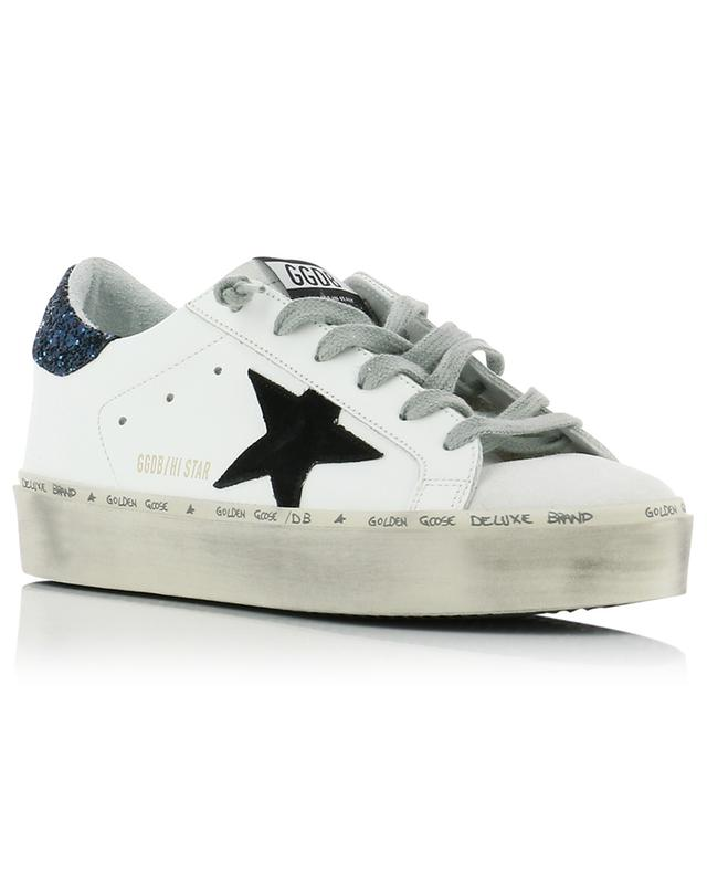 Hi Star platform sneakers with black star and blue glitter GOLDEN GOOSE