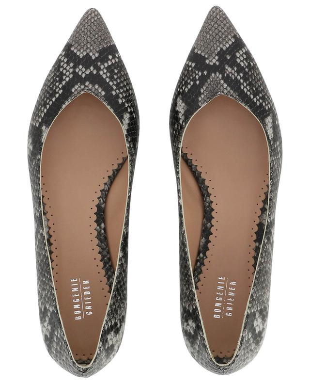 Python effect ballet flats with pointy tips BONGENIE GRIEDER
