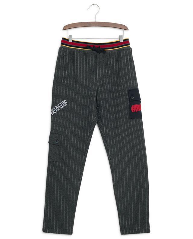 Pantalon rayé en coton mélangé avec patchs DOLCE & GABBANA