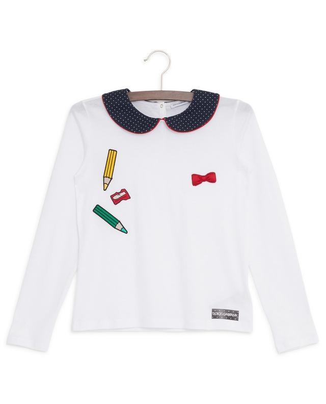 T-shirt manches longues en coton avec col claudine Back To School DOLCE & GABBANA