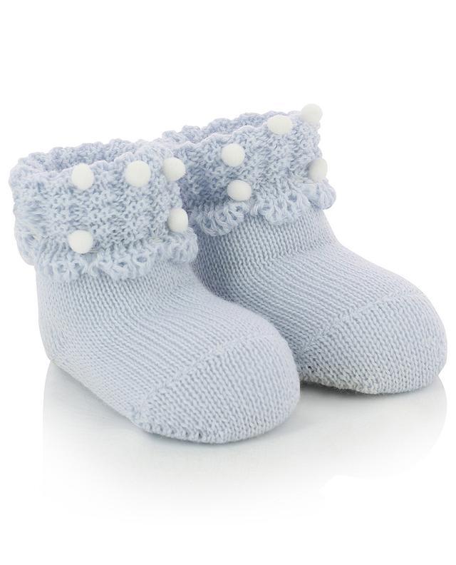 Pompon adorned virgin wool knit slippers IL TRENINO