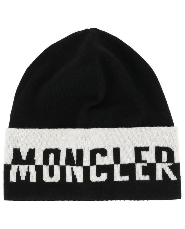 Bonnet fin en laine vierge motif logo bicolore MONCLER