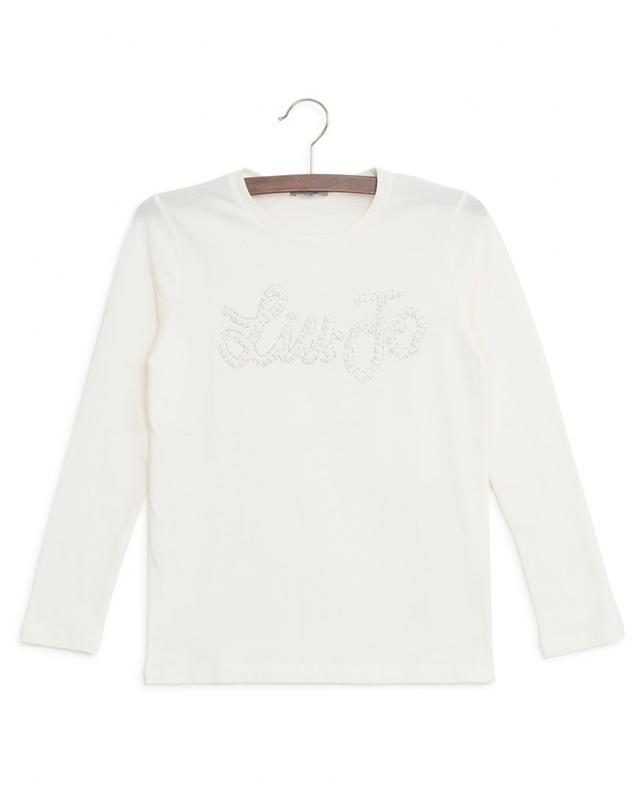 Rhinestone and pearl logo T-shirt LIU JO