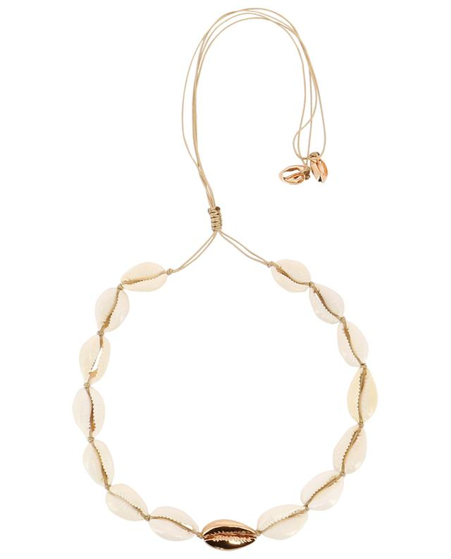 Large Puka Shell cauri and pink gold plated brass necklace TOHUM