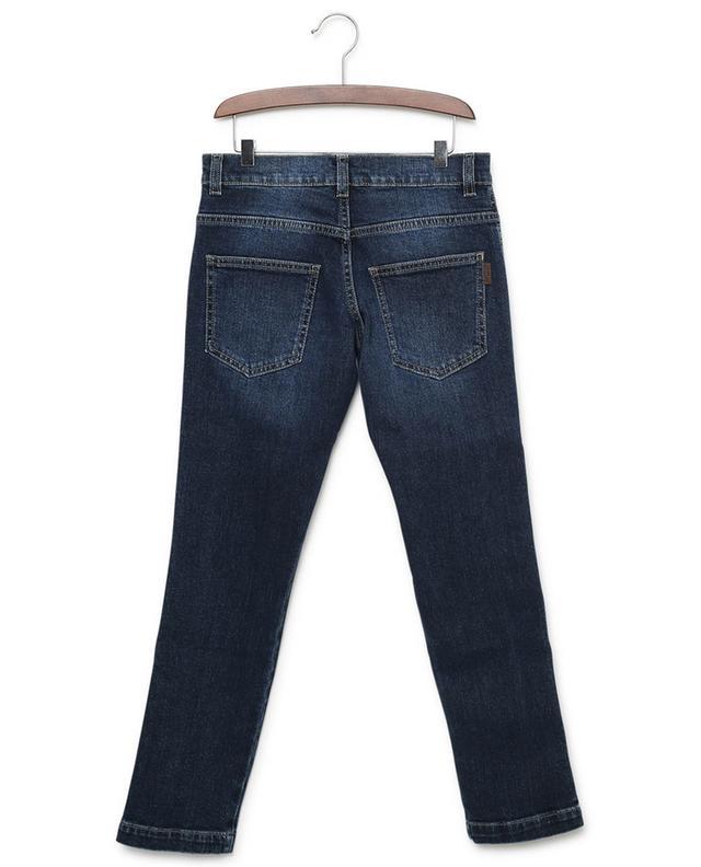 Monogrammed slim fit stretch cotton jeans FENDI