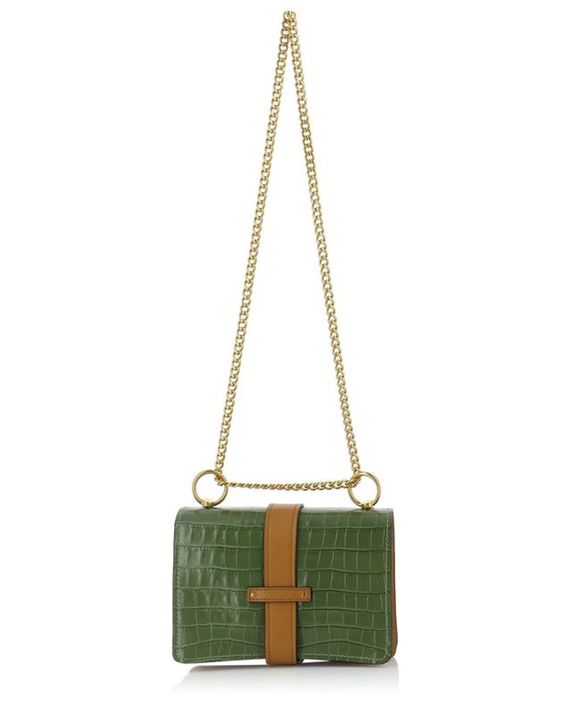 Aby croc effect leather and canvas shoulder bag CHLOE