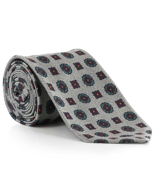 Chevron pattern and flower print tie KITON