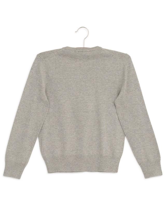 Pull gris chiné en coton à col V POLO RALPH LAUREN
