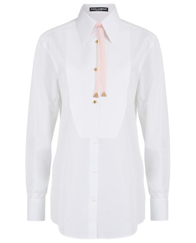 Poplin tuxedo shirt with velvet tie DOLCE & GABBANA