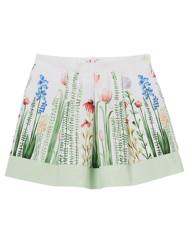 Floral print poplin cotton skirt with pleats IL GUFO