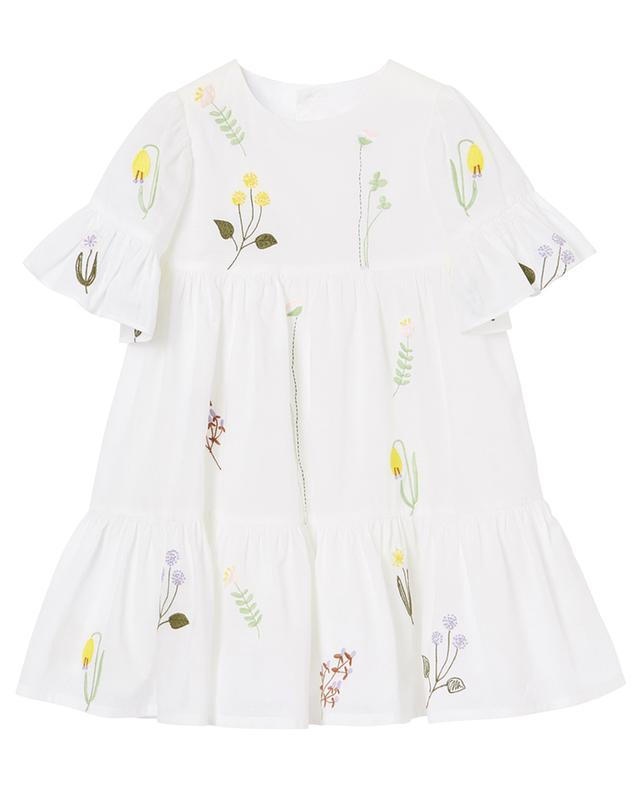 Flower embroidered ruffled cotton dress IL GUFO
