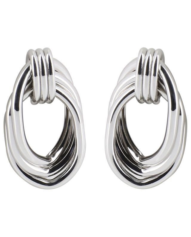 Silver knot effect stud earrings MOON C° PARIS