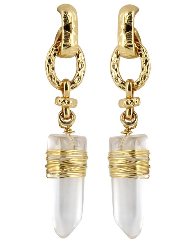 Cristal PM golden earrings with rock crystal GAS BIJOUX