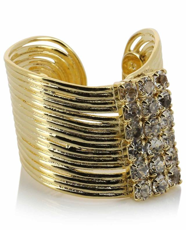 Wave Strass large golden open ring GAS BIJOUX