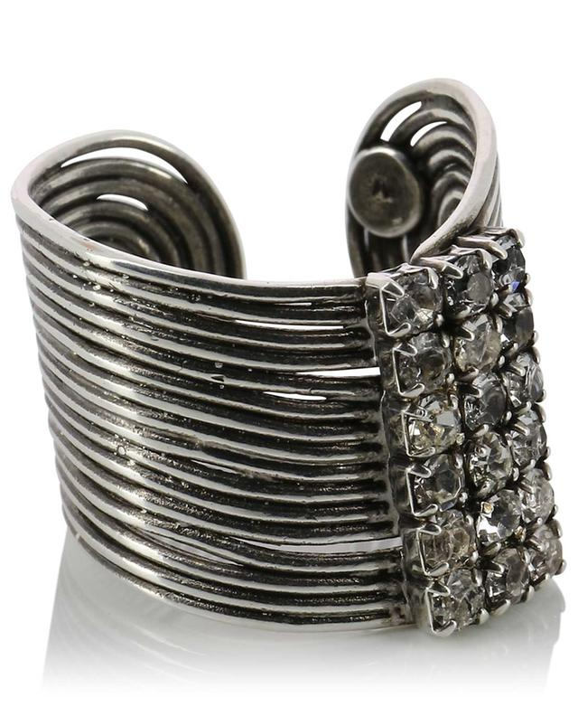 Waver Strass large open silver ring GAS BIJOUX