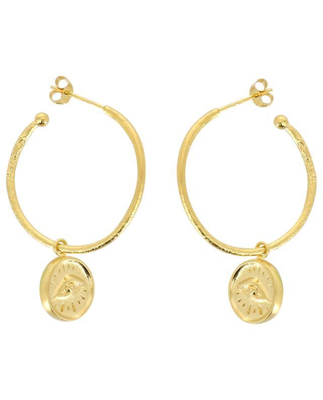 Joseph golden hoop earrings with eye pendants MONSIEUR PARIS