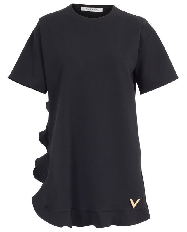 Robe courte en viscose mélangée à volants et logo V VALENTINO
