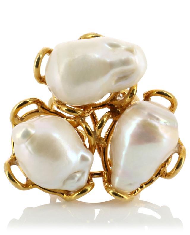 Bague ouverte dorée avec perles Baroque SYLVIA TOLEDANO