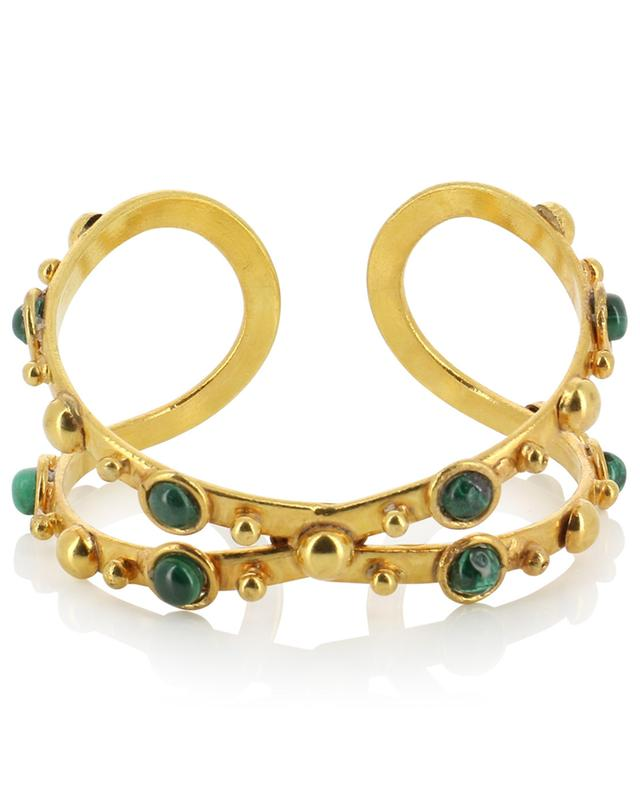 X Dots crossed golden bangle with malachite SYLVIA TOLEDANO