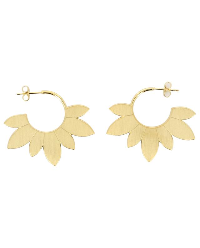 Daniele Large golden hoop earrings wit petals UN CHIC FOU