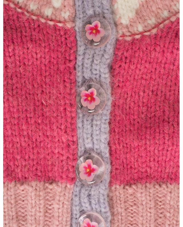 Cardigan raccourci manches courtes en alpaga et laine mérinos Trinity LOVESHACKFANCY