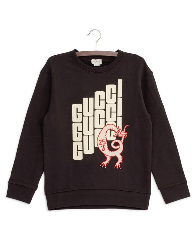 Printed sweatshirt with dragon patch GUCCI