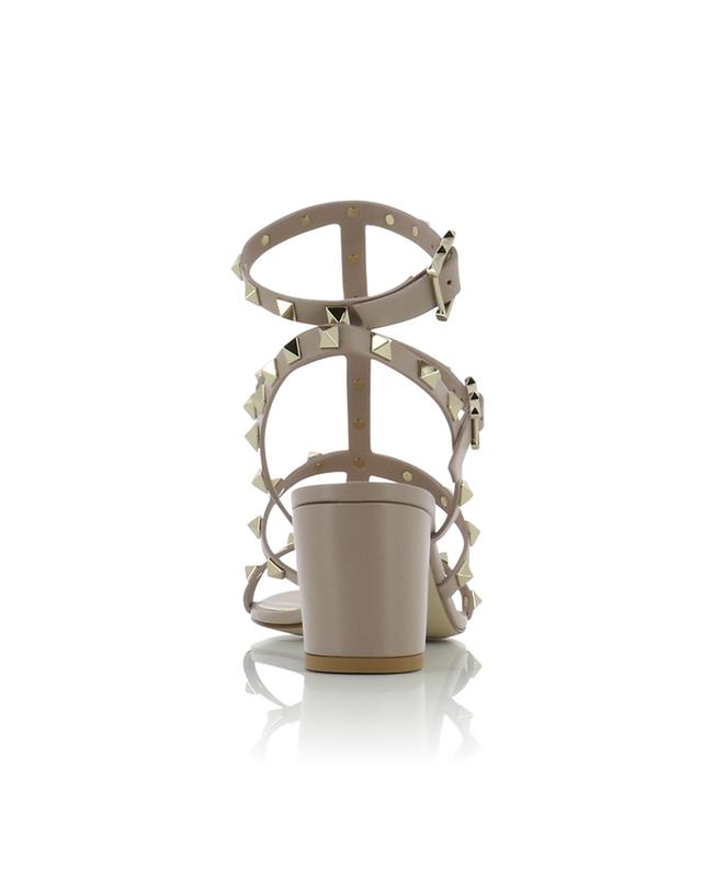 Sandales en cuir à talon carré et bride cheville Rockstud 60 VALENTINO