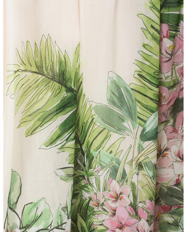 Jupe longue volantée en voile de coton fleuri exotique TWINSET