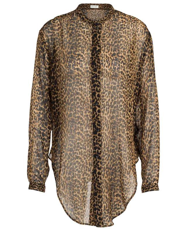 Chemise à nouer devant en laine imprimée léopard SAINT LAURENT PARIS