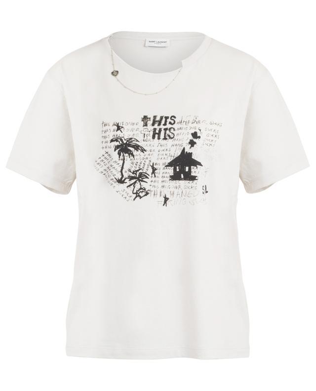 T-shirt boyfriend vieilli imprimé Hangover SAINT LAURENT PARIS