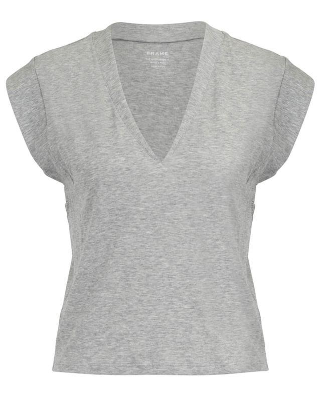 T-shirt sans manches en coton chiné Le High Rise V FRAME