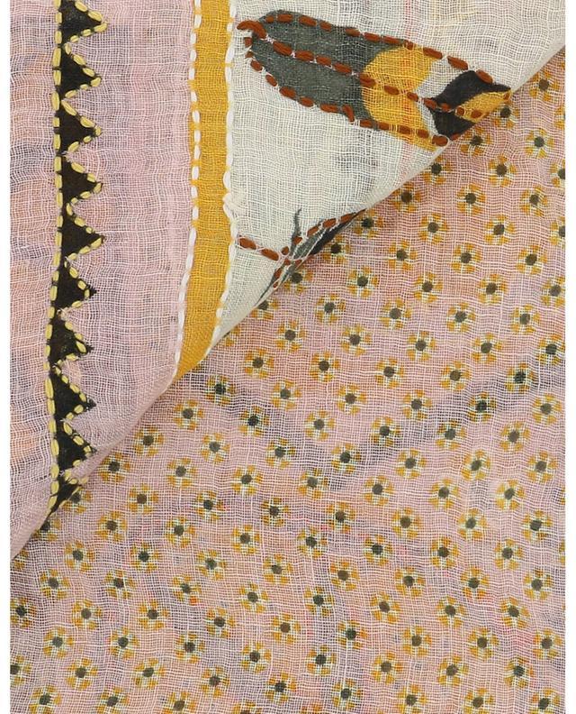 Étole en lin à franges avec broderies de coton Athena STORIATIPIC