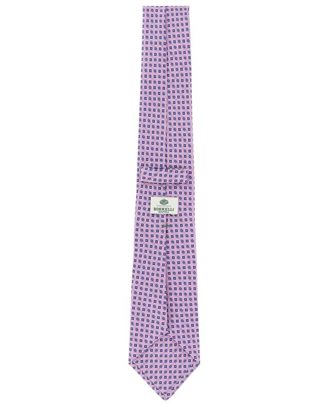 Cravate en sergé de soie motif grille fleurie LUIGI BORRELLI