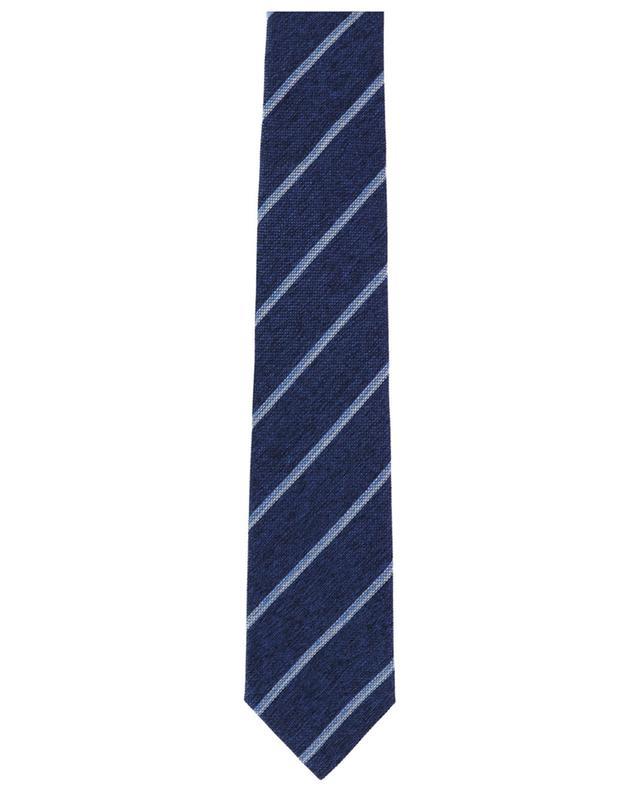 Cravate tissée en soie ornée de rayures diagonales BRIONI