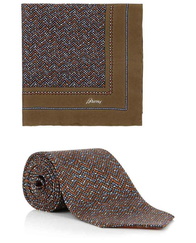 Coffret cravate et pochette en soie motif zigzag BRIONI