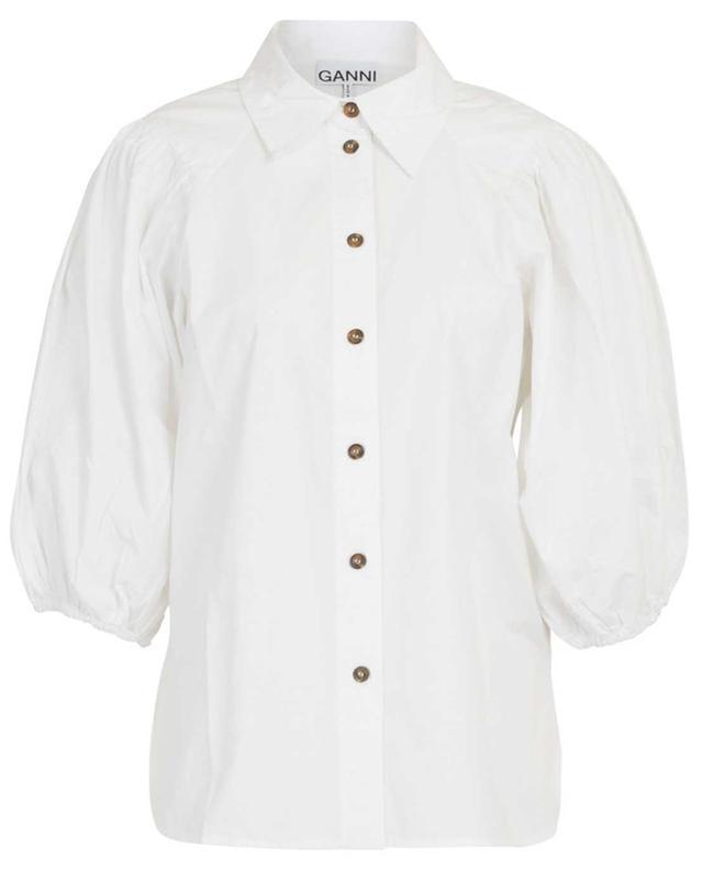 Poplin shirt with cropped balloon sleeves GANNI